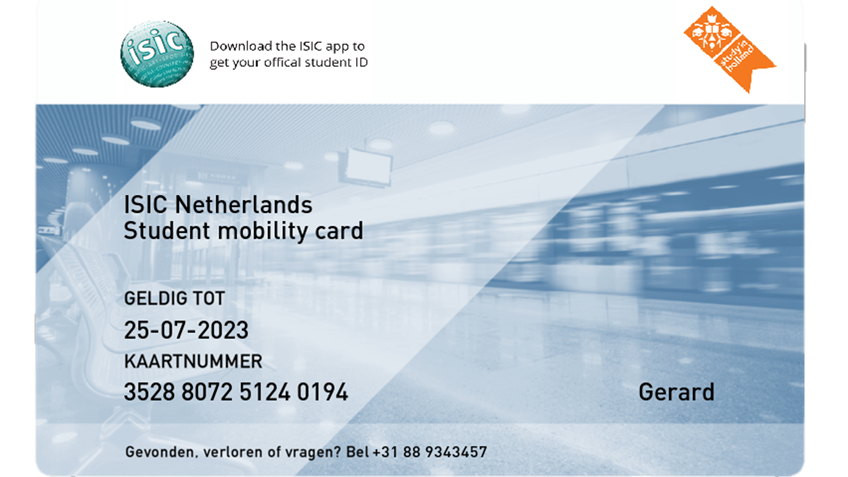 ISIC Mobility card for public transport in the Netherlands